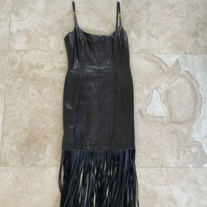 Escada Black Lambskin Leather Fringe Sexy Dress